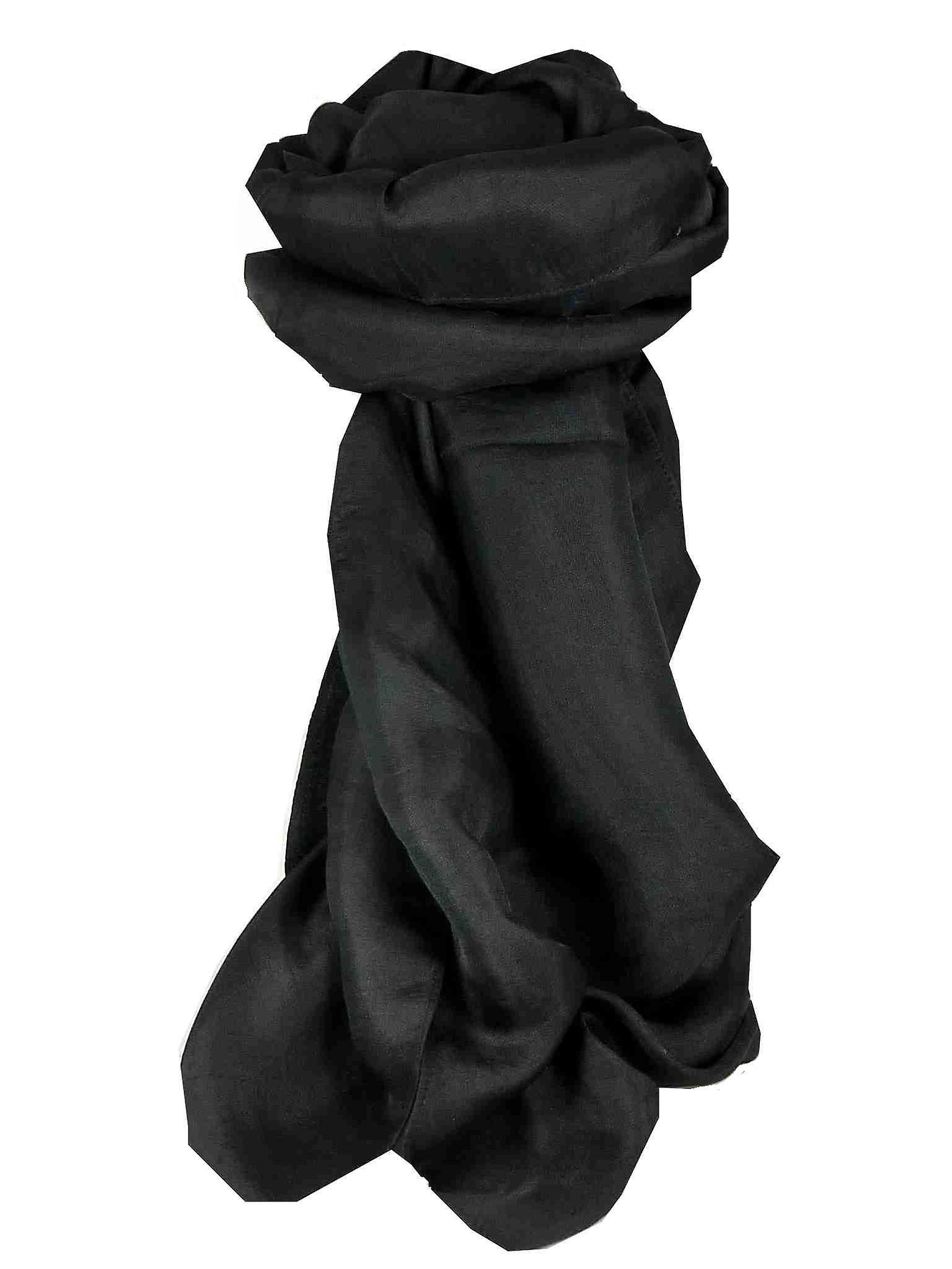 Vietnamese Silk Scarf Reversible Hoi-An Giana Plain Black by Pashmina & Silk