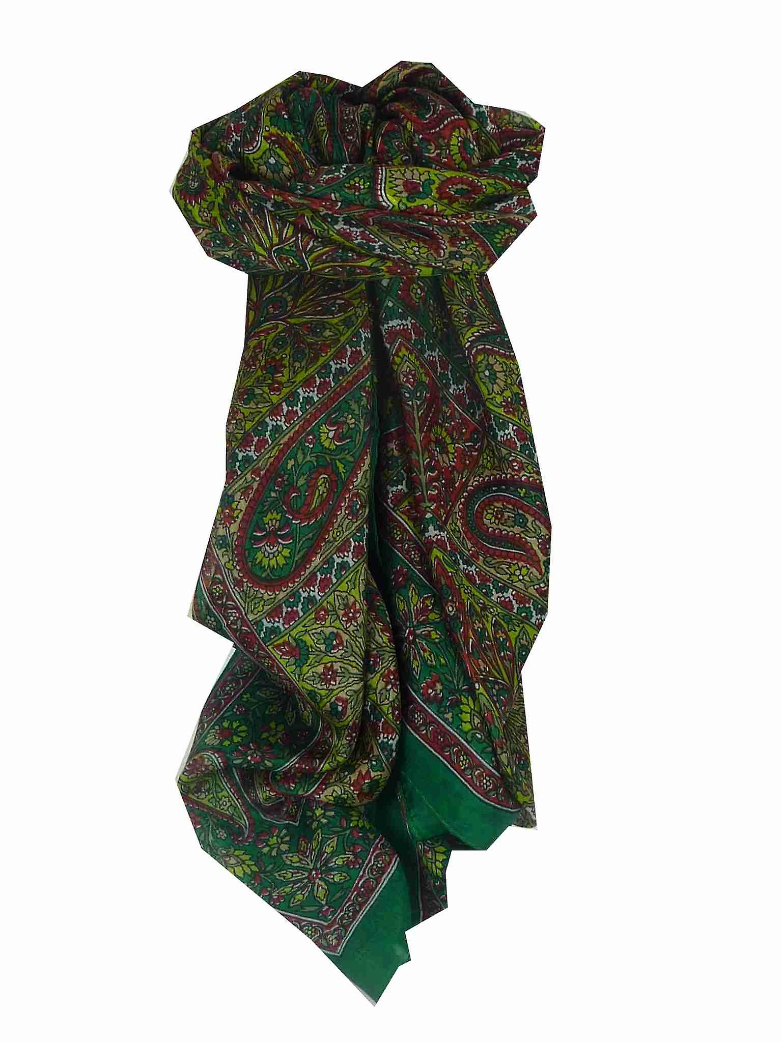 Mulberry Silk Traditional Square Scarf Solan Green by Pashmina & Silk