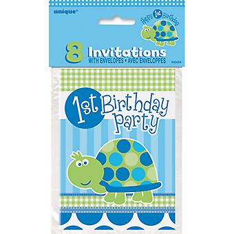 Unique Party 1st Birthday Turtle Invitations (Pack of 8)