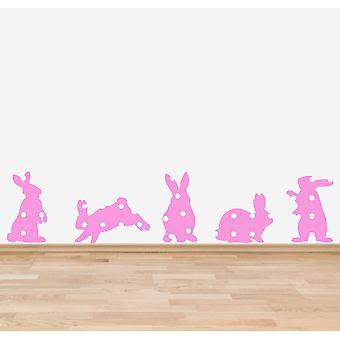 Full Colour roze Shabby chique Floral konijnen muur Sticker