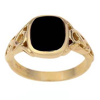 9ct Gold Onyx meg kelta váll párna Signet Ring méret Z