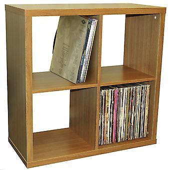 Cubo - 4 estantes de exhibición del compartimiento cuadrado / Lp de vinilo registro almacenamiento - roble