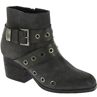 Vic Mati� Women's ankle studded heeled boots in dark gray nubuk leather
