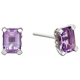 Boucles d'oreilles Elements Gold Rectangle - Purple/Silver