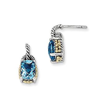 925 Sterling Silver Polished Prong set Post Earrings finish With 14k 2.80Sky Blue Topaz Earrings Jewelry Gifts for Women