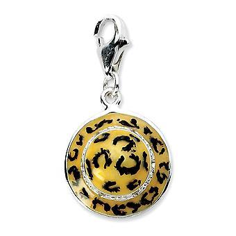 925 plata esterlina Rhodium plateado langosta de lujo cierre Haga clic en CZ Cubic Zirconia simulado diamante esmalte leopardo sombrero