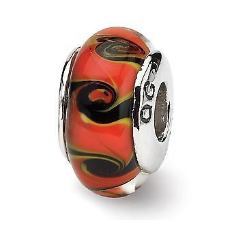925 Plata esterlina pulido acabado antiguo Reflejos rojo negro Murano vidrio perla encanto