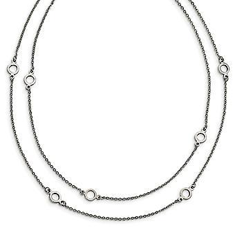 Roestvrij staal gepolijst fancy kreeft sluiting twee streng met 2in. ext. ketting 15,75 inch sieraden geschenken voor vrouwen
