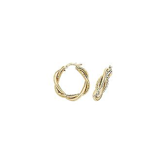 Boucles d'oreilles Eternity 9ct Gold 20mm Round Plaited Creole Hoop