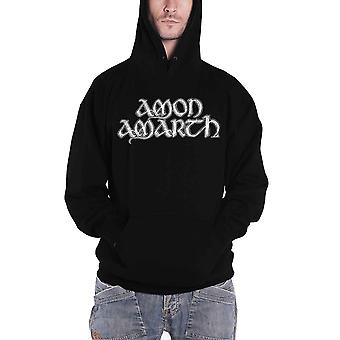 Amon Amarth Hoodie Grey Skull Band Logo new Official Mens Black Pullover