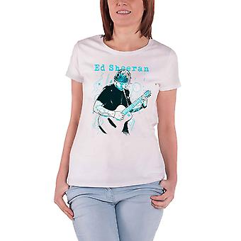 Ed Sheeran T Shirt Guitar Line Illustration new Official Womens Skinny Fit White