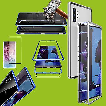 Per Samsung Galaxy Note 10 Plus N975F Magnete / Custodia in metallo / vetro Argento / Trasparente - 0,3 mm H9 4D Full Curved Tempered Hard Glass