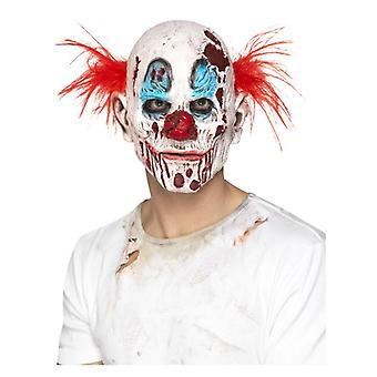 Mens Zombie Clown Overhead Mask With Hair Halloween Accessory