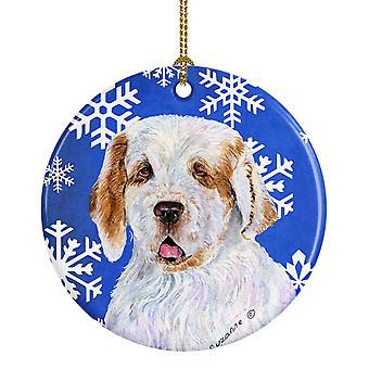 الكلب كلومبير الشتاء الثلج عطلة عيد الميلاد زخرفة السيراميك SS4638