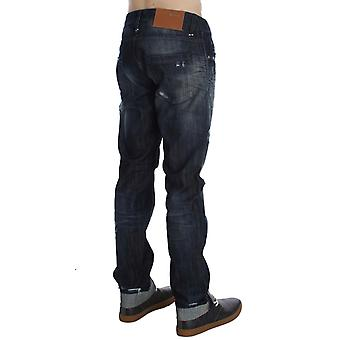Blue Cotton Regular Straight Fit faded Look Jeans