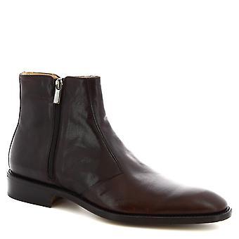 Leonardo skor män ' s handgjorda fotled stövlar i mörkbrun kalvläder sida zip