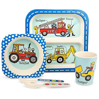 Tyrrell Katz Trucks Design 5pc Bamboo Dinner Set For Children