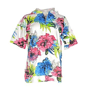 Quacker Factory Women's Sweater Floral Printed Zip Front White A305408