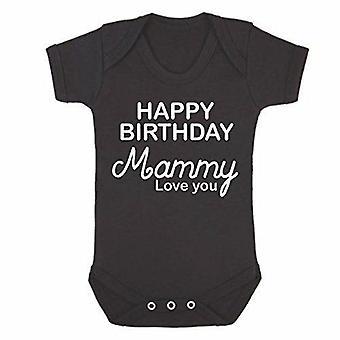 Joyeux anniversaire maman noire à manches courtes babygrow