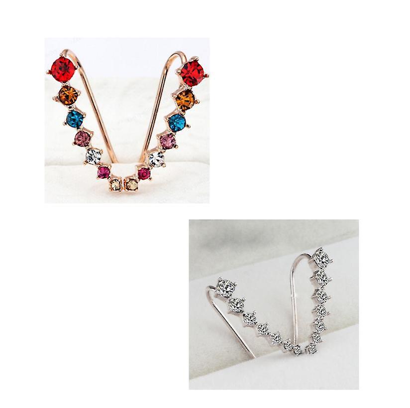 Crystal seven stone crawler earrings