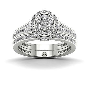 Igi مصدقة s925 الفضة 0.33ct tdw الماس البيضاوي كتلة مجموعة الزفاف مجموعة
