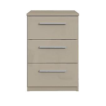 Westbury High Gloss 3 Drawer Bedside Chest RRP £85 Cashmere Gloss