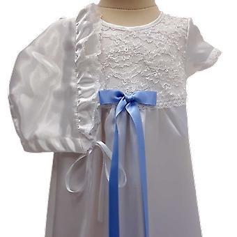 Vit Dopklänning Och Hätta, Smal Blå Rosett Grace Of Sweden  Ma.v