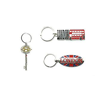 Metal London Souvenir Keychain Keyring Gifting Accessory - set of 3