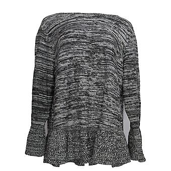 Style & Co. Women's Plus Sweater Marbled Ruffle Pull-Over Gray