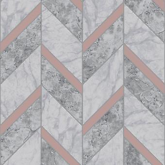 Tiling em um roll carrara tile carvão de parede de papel de parede / Rose Gold Holden 89342
