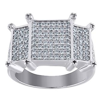 925 Sterling Silver Mens CZ Cubic Zirconia Simulated Diamond Rectangle Head Cluster Band Ring Jewelry Gifts for Men - Ri
