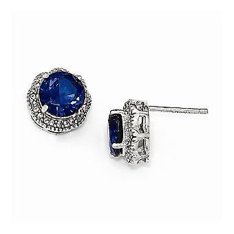 13mm Cheryl M 925 Sterling Silver Blue en Wit CZ Cubic Zirconia Gesimuleerde Diamond Post Oorbellen Sieraden Geschenken voor Wom