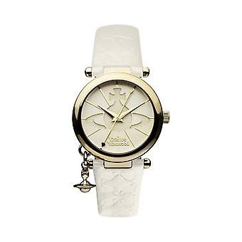Vivienne Westwood Watches Vivienne Westwood Vv006whwh Orb Ii Gold & Cream Leather Ladies Watch