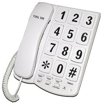 ひも状の電話ニューヨーカー大きなボタン電話 - ホワイト - 壁マウント (18041W)