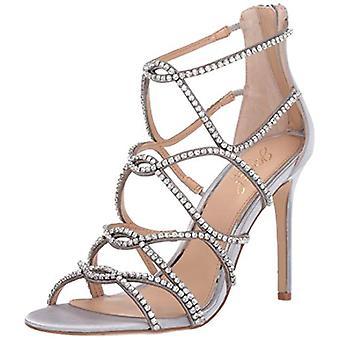 Jewel Badgley Mischka Femei's DELANCEY Sandal, satin de argint, 8,5 M SUA