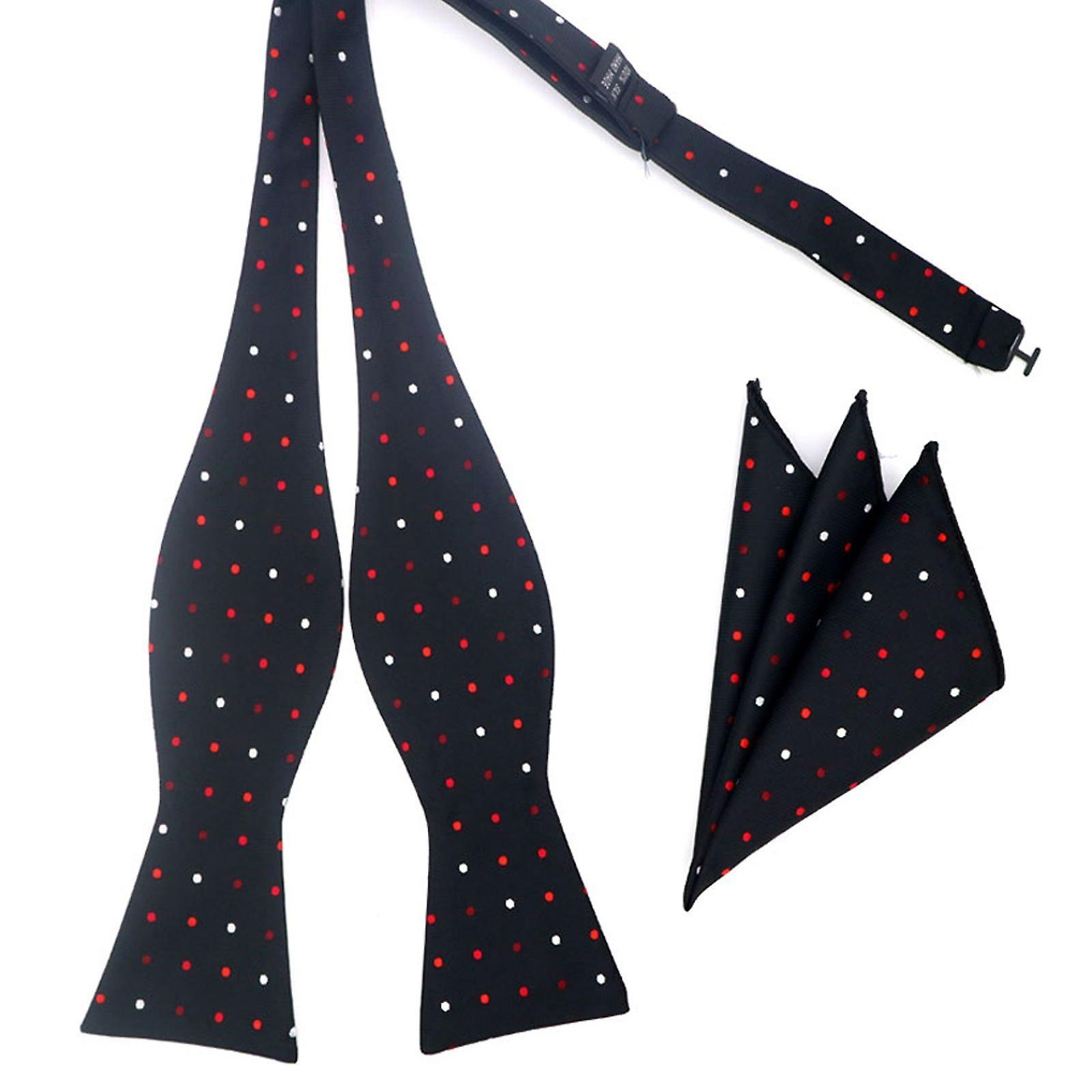 Black red & white polka self tied bow & pocket square