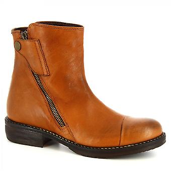 Leonardo Shoes Women's handmade ankle boots tan calf leather with side zip