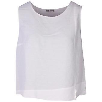 Crea Concept White Linen Blend Asymetric Sleeveless Top