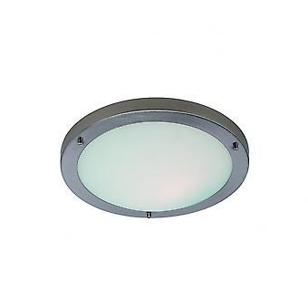 Firstlight Lima Modern Brushed Steel Opal Glass Flush Ceiling Light