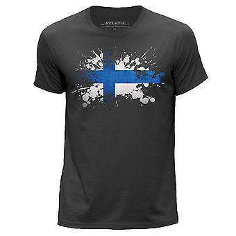 STUFF4 Men's Round Neck T-Shirt/Finland/Finnish Flag Splat/Dark Grey