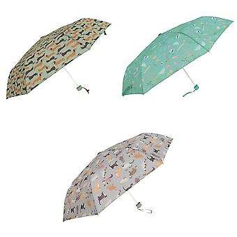 Susino Womens/Ladies Pet Print Compact Umbrella