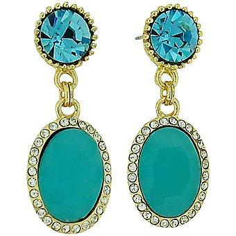 Park Lane Damen Goldtone greeny blau Glas Set Tropfen Ohrringe