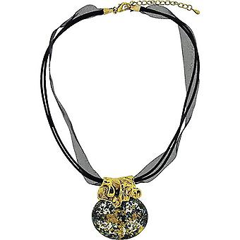 The Olivia Collection Goldtone Ethnic Synthetic Blue Pendant Black Organza Cord