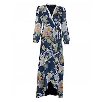 Hope And Ivy Long Sleeved Floral Wrap Dress