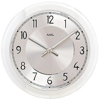 AMS 9476 wall clock quartz analog silver round with glass