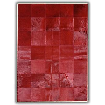 Rugs -Patchwork Leather Cubed Cowhide - Plain Red with Border