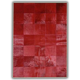 Tepper - lappeteppe skinn Cubed okseskinn - vanlig rød med kantlinje