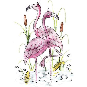 Heritage Crafts Cross Stitch Kit - Flamingos (Aida)