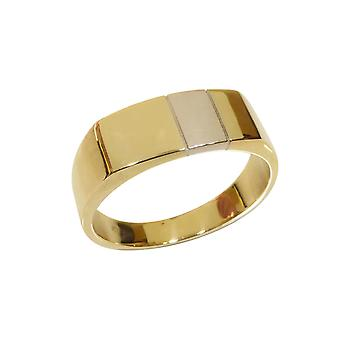 Bicolor gold cachet ring