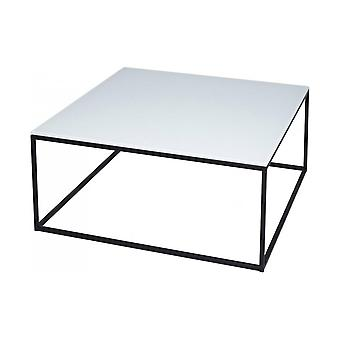 Gillmore White Glass And Black Metal Contemporary Square Coffee Table